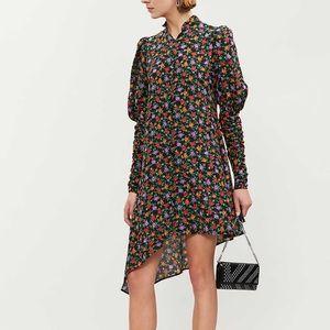 NWT The Kooples Floral Asymmetric Silk Dress - XS